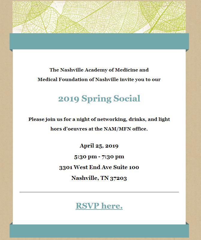 Spring Social @ Nashville Academy of Medicine
