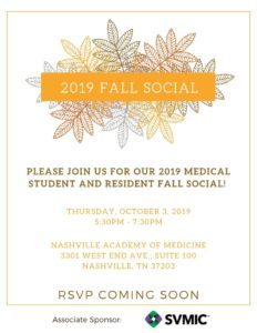 Medical Student and Resident Fall Social @ Nashville Academy of Medicine