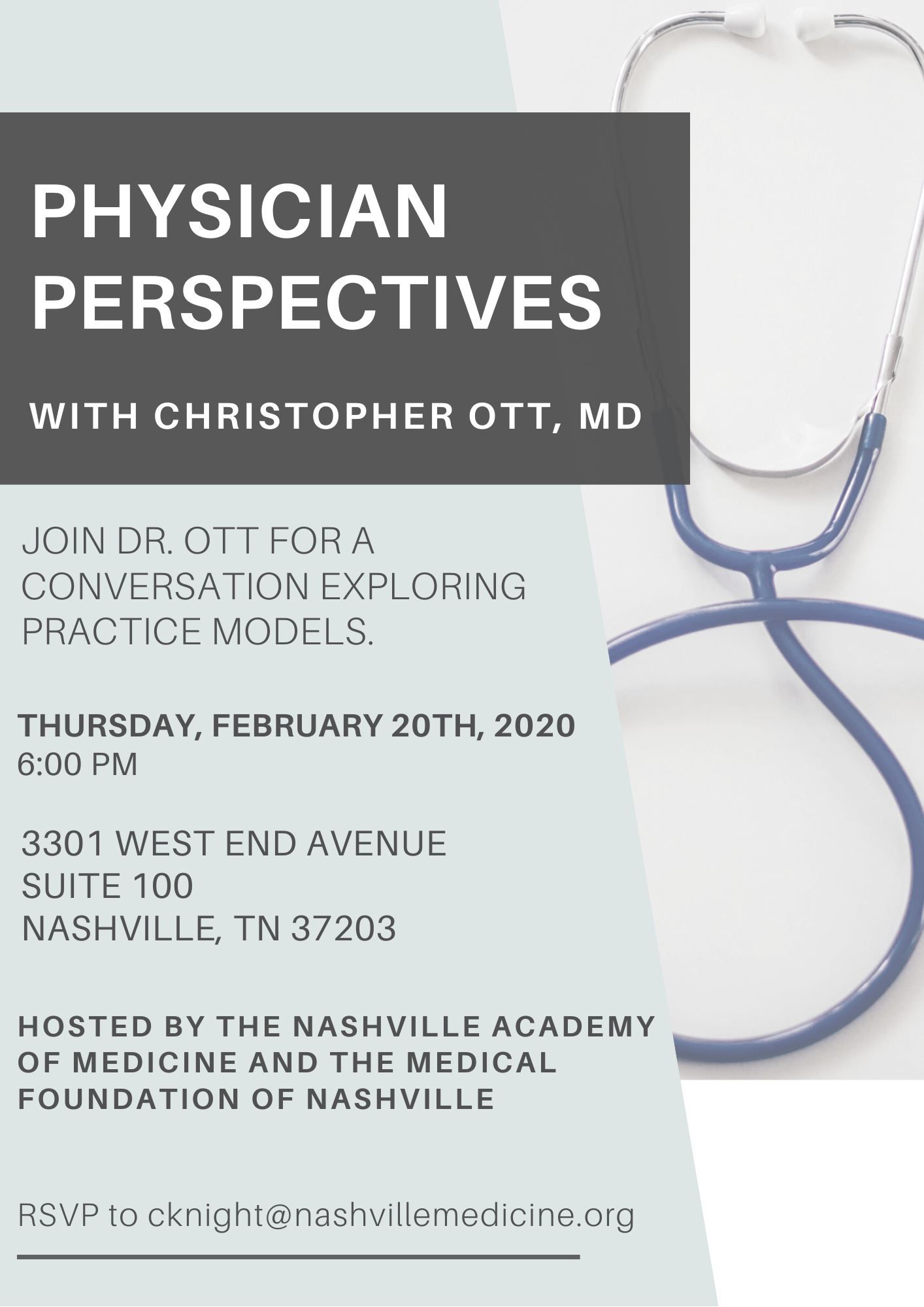 Physician Perspectives with Christopher Ott, MD @ Nashville Academy of Medicine